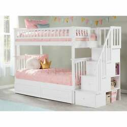 Columbia Staircase Bunk Bed Twin Over Twin With 2 Raised White Twin