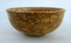 Vintage Old Indian Hand Crafted Unique Marble Stone Round Salad Bowl Pot Plate