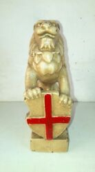 Antique Old British East India Company Flag Hold Lion Figure Statue Sculpture