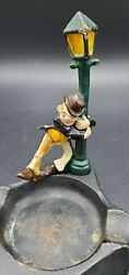 Die Cast Metal Ashtray With Drunk Man Hanging On Lamp Post