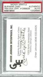 Mickey Mantle Signed Business Card Greer Johnson Enterprises Auto Psa Authentic
