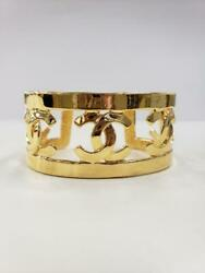 Auth Vintage Cc Logo Cuff Bangle Bracelet Gold 95p Used From Japan F/s