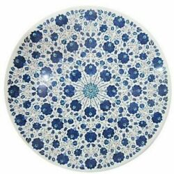 White Marble Dining Table Top Precious Lapis Floral Inlay Art Home Kitchen Dandeacutecor
