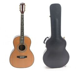 Zuwei 39in 00045 Acoustic Guitar Abalone Inlay Solid Red Spruce 12 Fret Joint