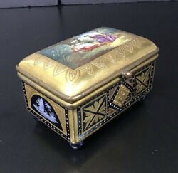 Vintage Porcelain Gold Hinged Trinket Box With Hand Painted Romantic Scenes