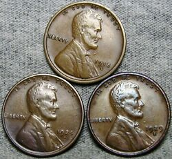 1918-s 1924-d 1929-s Lincoln Cent Wheat Penny ---- Nice Details Lot ---- S028