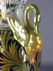 Amphora With Pins A Swan Majolica Luster Blue And Gold Ceramics Madder Xx Century