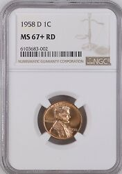 1958-d 1c Rd Lincoln Wheat One Cent Ngc Ms667+rd 6103683-002
