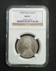 1900b British India Victoria Queen Rupee Silver Coin Ngc Ms63