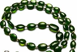 Super Quality Russian Gem Chrome Diopside Smooth Nugget Beads Necklace 20 Inch