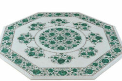 White Marble Dining Table Top Precious Mosaic Malachite Floral Inlay Art Decors