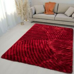 5and039x7and039 Feet Red 3d Modern Abstract Pattern Decor Shag Shaggy Area Rug Carpet New