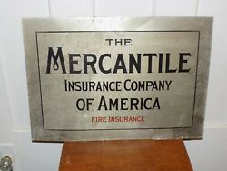 Vintage The Mercantile Insurance Company Of America Fire Insurance Metal Sign