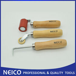3pcs Single Ply Roofing Installing Tools Kit , Seam Roller, Brass Penny, Probe