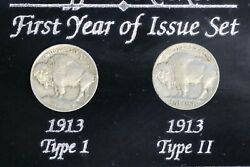 Buffalo Nickels First Year Of Issue Set 1913 Type I And Ii In Case