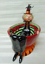 Halloween Department 56 Ceramic Candy Dish With Witch