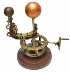 Brass Solar System Orrery With Wood Base Sun, Earth And Moon Working Model Gift