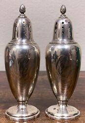 Antique Estate Mfh Sterling Silver Non-weighted 5andrdquo Salt And Pepper Shakers 153