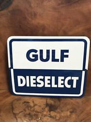 Gulf Dieselect Original 1960's Porcelain Gas Pump Plate Sign Gas And Oil Station