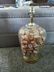Lamp Light Full Of Vintage Wood Wooden Empty Spools Thread Sewing Decor