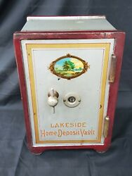 Rare Antique Victorian Lakeside Home Deposit Cast Vault Safe Small Not A Toy