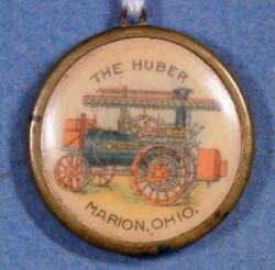 Huber Steam Tractor Marion Ohio Bronze And Celluloid Watch Fob Charm Tr30-3