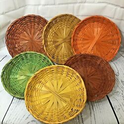 Vintage Retro Lot Of 6 Colorful Wicker Woven Paper Plate Holders Orange Green