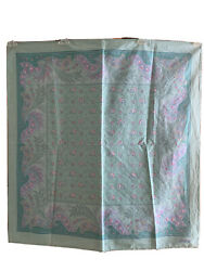 Les Olivades Made In France Square Scarf Floral Cotton Poplin Mint Green/pink