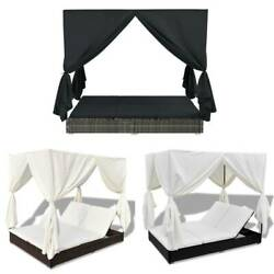 Double Day Bed W/ Curtains Sun Lounge Canopy Outdoor Rattan Patio Sofa Furniture