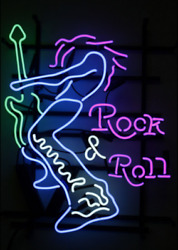 Rock And Roll Neon Sign Light Decor Party Shop Real Glass Night Light Custom Neon