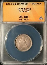 1875-s 20 Cent Piece == Anacs Au-58 Details-cleaned == Nice Look==free Shipping