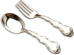Strasbourg By Gorham 2 Piece Baby Fork And Spoon Set New In Box, Sterling Silver