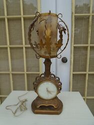 Art Deco Table Lamp Clock Hollywood Regency French United Clock Corp Model 933