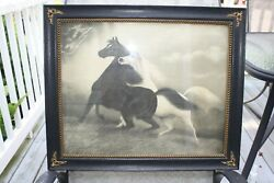 Antique Art Spirited Horses By Le Roy Black And White Wooden Frame