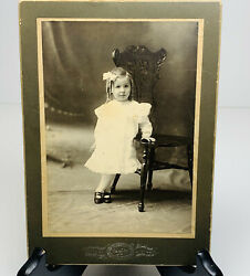 Antique Photo Infant Child Girl Posing With Antique Chair Curley Hair 1902 2 Yrs
