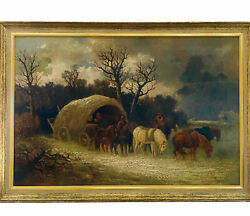 Antique 19th Century Covered Wagon Painting Oil On Canvas Signed Garth
