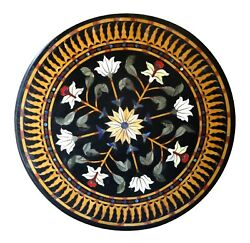 Black Marble Dining Table Malachite Leaf Marquetry Floral Inlay Arts Decors B245