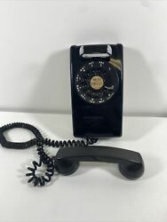 Antique Rotary Phone Western Electric Bell System Black Wall Mount Vintage Old
