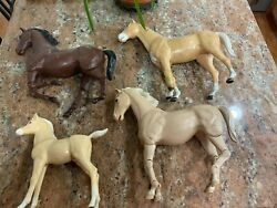 Vintage Marx Johnny West Horse Lot With Rare Pony And Movable Horses