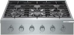 Bosch 800 Series 36 Stainless 6 Sealed Burners Gas Slide-in Cooktop Rgm8658uc