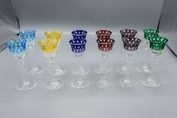 Godinger King Louis Colored Cut-to-clear Crystal Cordial Glasses 5 1/4 H Set 12