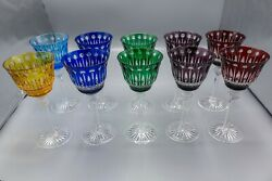 Godinger King Louis Colored Cut-to-clear Crystal Water Goblets 7.75 Set Of 10