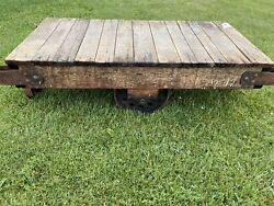 Antique Industrial Cart Furniture Factory Cart-industrial Railroad-coffee Table