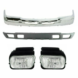 New Set Of 4 Front Chrome Bumper Kit With Fog Lamps For Silverado 1500 2004-2006