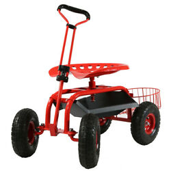 Sunnydaze Rolling Garden Cart W/ Extendable Steering Handle Seat And Tray - Red