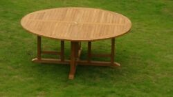 9-piece Outdoor Teak Dining Set 72 Round Table 8 Stacking Arm Chairs Trav