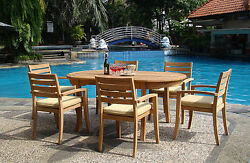 7-piece Outdoor Teak Dining Set 94 Oval Extn Table, 6 Stacking Arm Chairs Trav