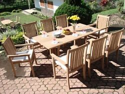 9-piece Outdoor Teak Dining Set 69 Console Fold Table 8 Stacking Arm Chairs