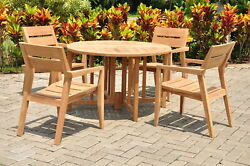 5-piece Outdoor Teak Dining Set 48 Butterfly Table 4 Stacking Arm Chairs Vello