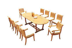 11-pc Outdoor Teak Dining Set 94 Masc Oval Table 10 Arm/armless Chairs Giva